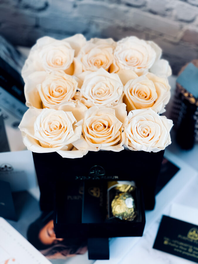 Cream color Forever Roses in Black Square velvet Box with sweets in their secret place