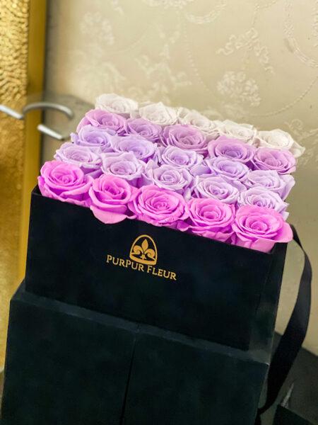 ⚜️Lavender Forever Rose Ambre in Black Premium Square Box