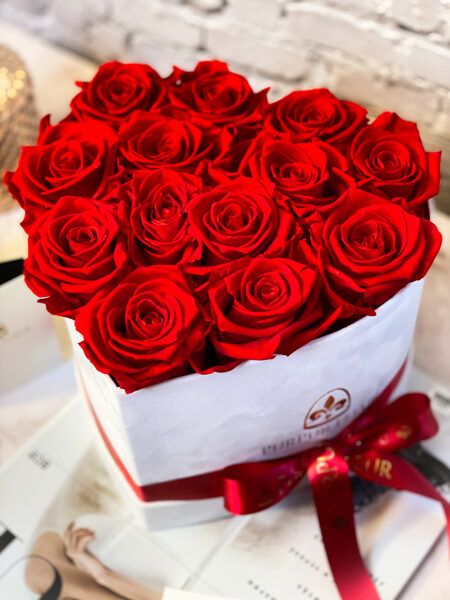 White Heart Box with Red Forever Roses
